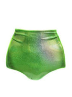 Neon Green Holographic High Waist Shorts - Feelin Peachy