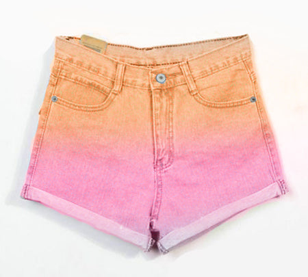 Ombre Purple & Blue Dyed Overall High Waisted Denim Shorts