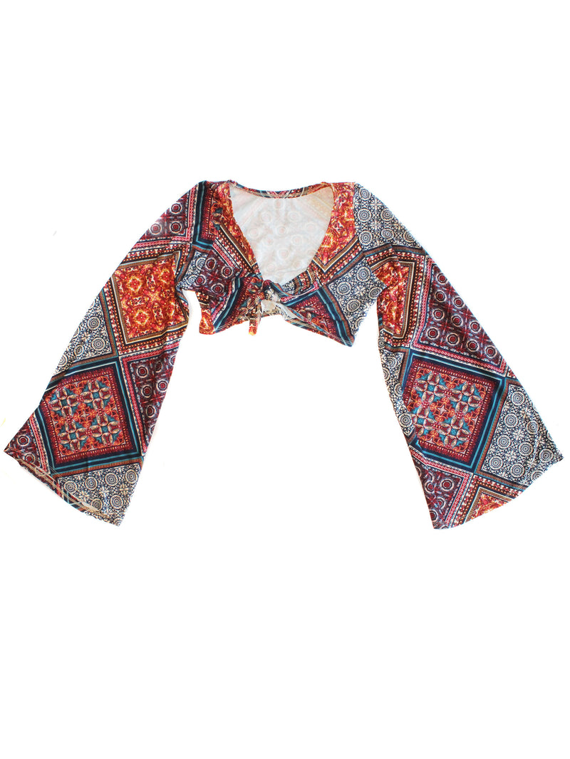 Patch Work Paisley Crop Top- Bell Sleeves
