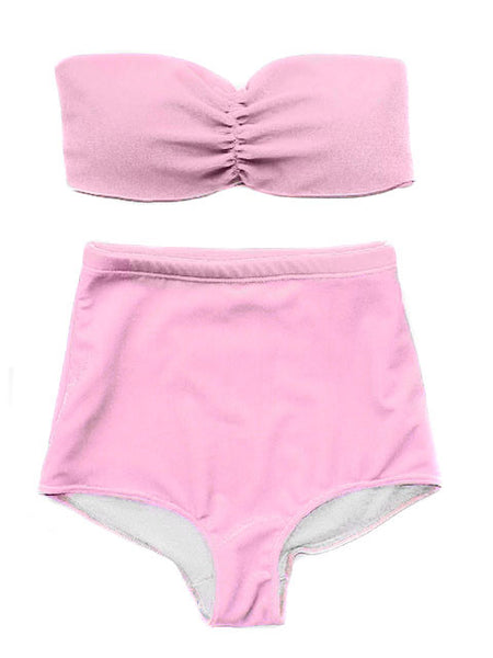 Pink Velvet Bandeau & High Wasited Swimsuit