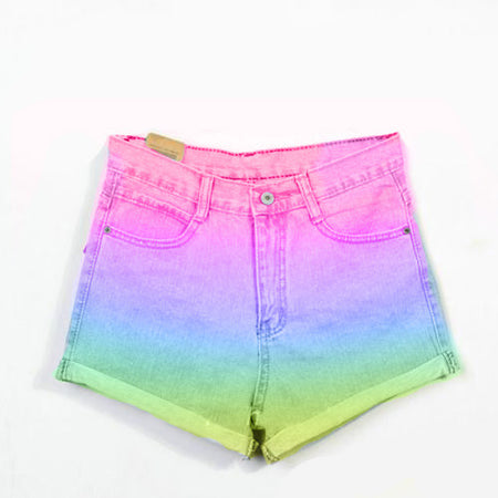 Neon Pink Checkered High Waist Shorts