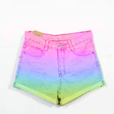 High Waist Denim Rainbow  shorts - Feelin Peachy