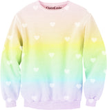 Heart Pastel Rainbow Allover Printed Sweatshirt - Feelin Peachy