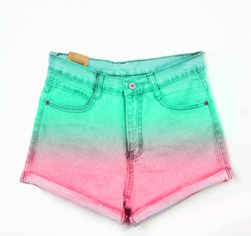 High Waist Denim Teal Pink dyed shorts - Feelin Peachy