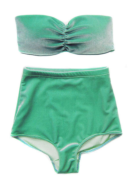 Teal Velvet Bandeau & High Wasited Swimsuit