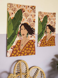 Girl In The Green Earrings Tapestry