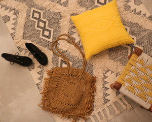 Attirail Bohemian Aztec Design Mustard Colored Cushion