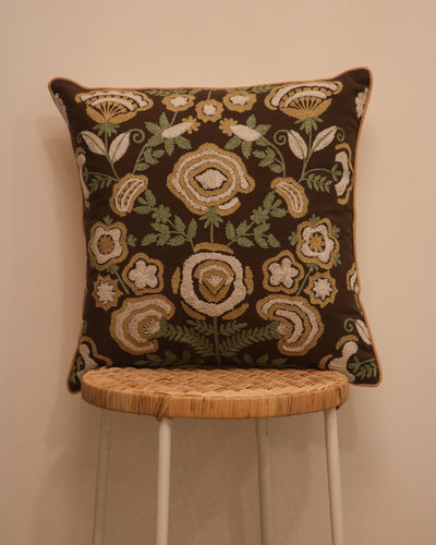 Attirail Bohemian Fleur De Lis Embroidered Cushion Flower Floral Gypsy