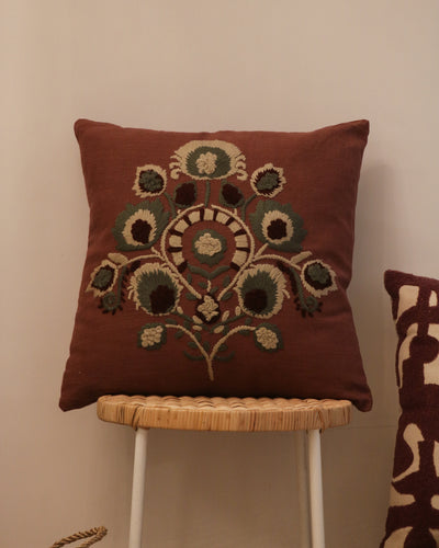 Attirail Bohemian Embroidery Boho Blooms Cushion Wildflower