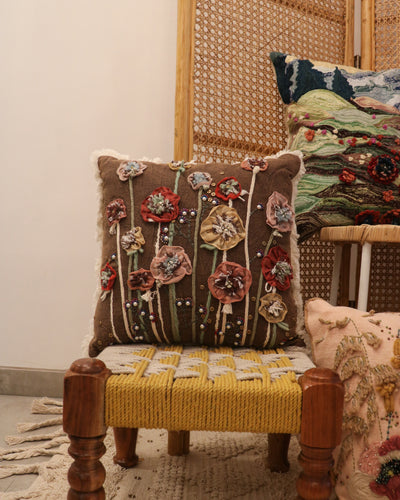 Attirail Bohemian Embroidered Wild Poppies Collection Sepia Blossoms Cushion Floral Flower Square