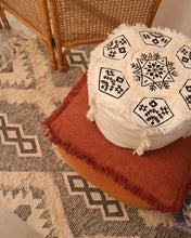 Load image into Gallery viewer, Attirail Bohemian Boho Madeline Floor Pouf White