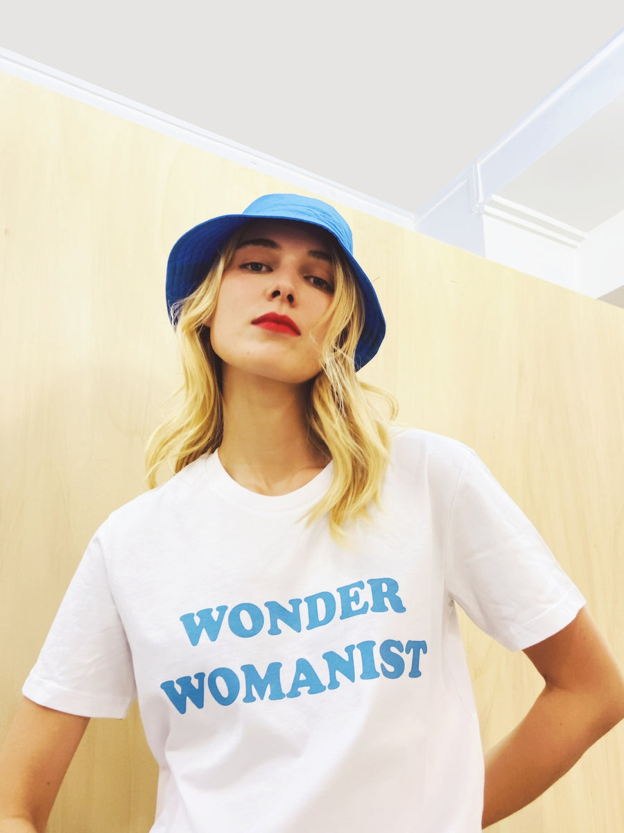 T-shirt Wonder Womanist - Blanc & Bleu ciel