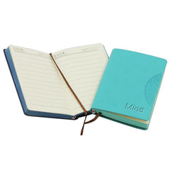 Mini Notebook With Embossed Flower Pattern On Pu Leather Cover