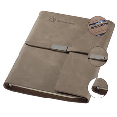 Loose Leaf Notebook With Thin Leather Strap And Flap Closure With Slanted Edge