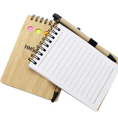 Notepad Set With Spiral-Bound Bamboo Cover