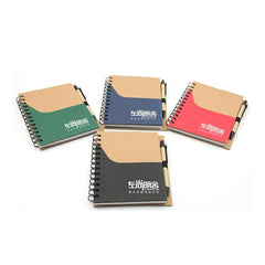 Notebook Set With Coloured Pocket On Kraft Paper Cover