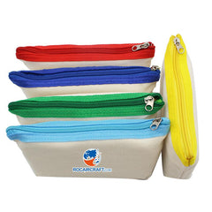 Canvas Pencil Case with Coloured Zip
