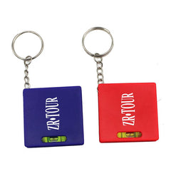 Square Keychain With Spirit Level And Retractable Tape Measure