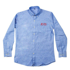 Collared Button-Up Long-Sleeved Shirt with Front Pocket