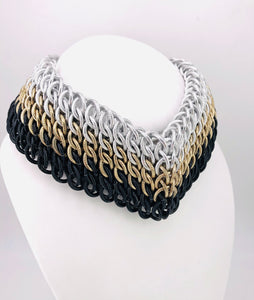 Tri-Color Chainmaille Statement Necklace, Posture Collar