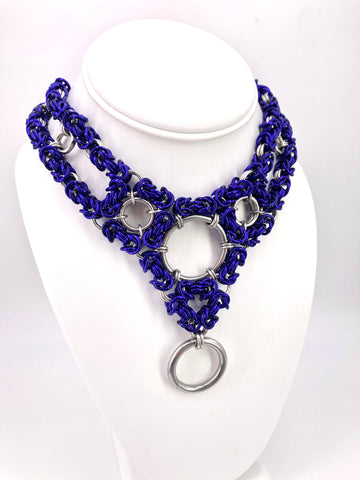 Purple and Stainless Steel Chainmaille Statement Collar with Multiple Rings