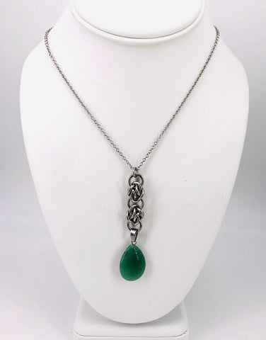 Drop Stone Pendant Chainmaille Necklace