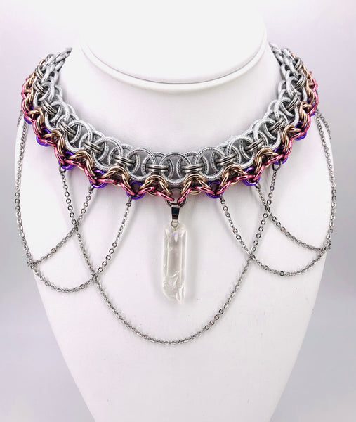 Silver, Rose, Gold, and Steel Chainmaille Statement Necklace with Stone and Chains