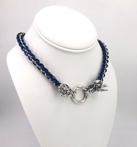 Blue and Black BDSM Chainmaille Collar with Dragon Clasp