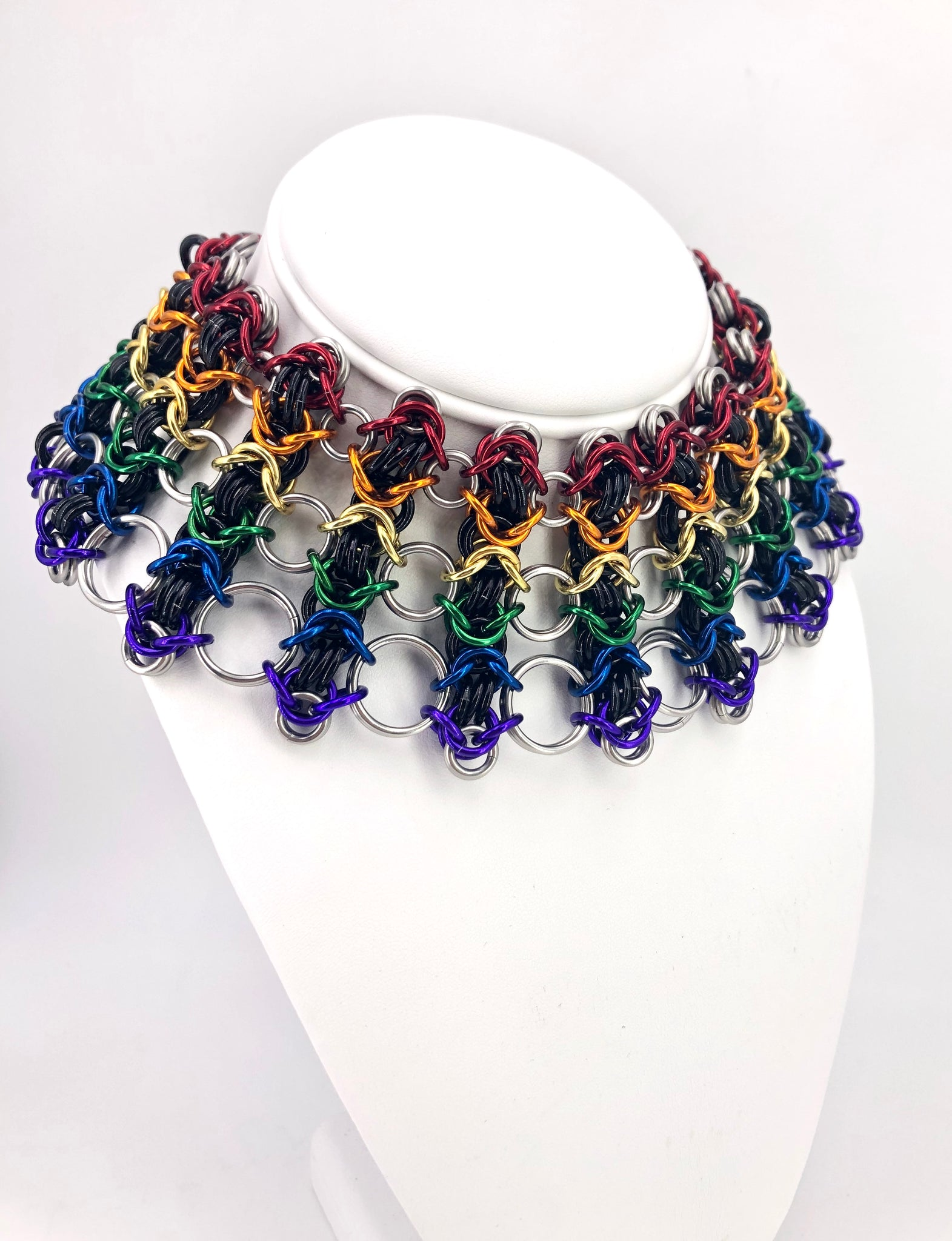Rainbow Chainmaille Statement Necklace