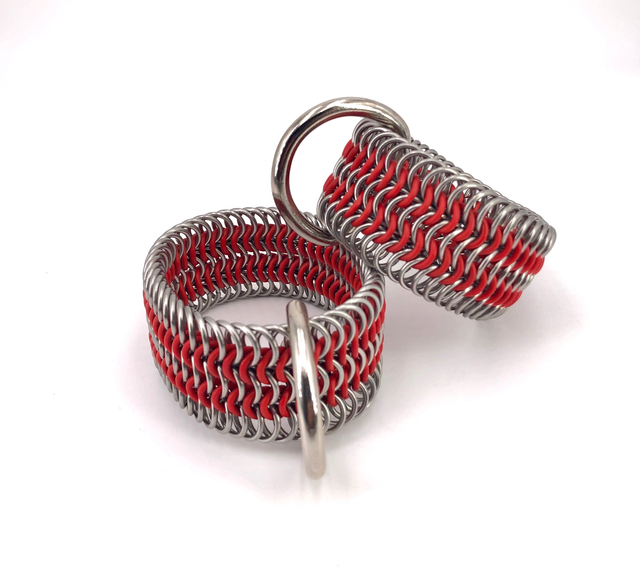 Red BDSM Chainmaille Stretch Cuffs