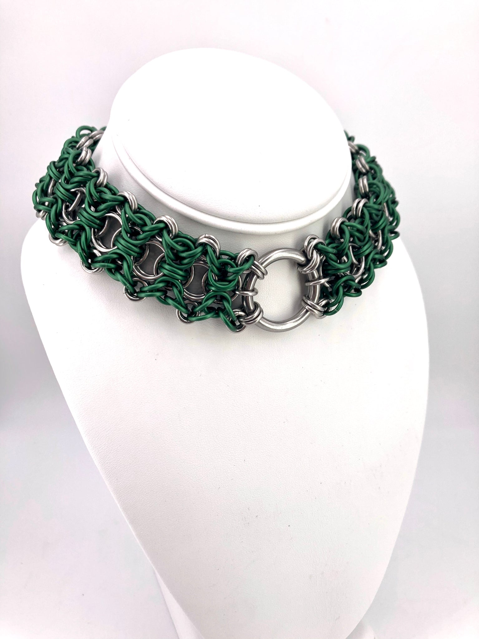 Green BDSM Collar with Center Ring