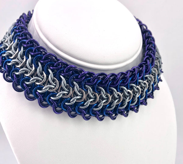 Wide Blue and Purple BDSM Chainmaille Choker