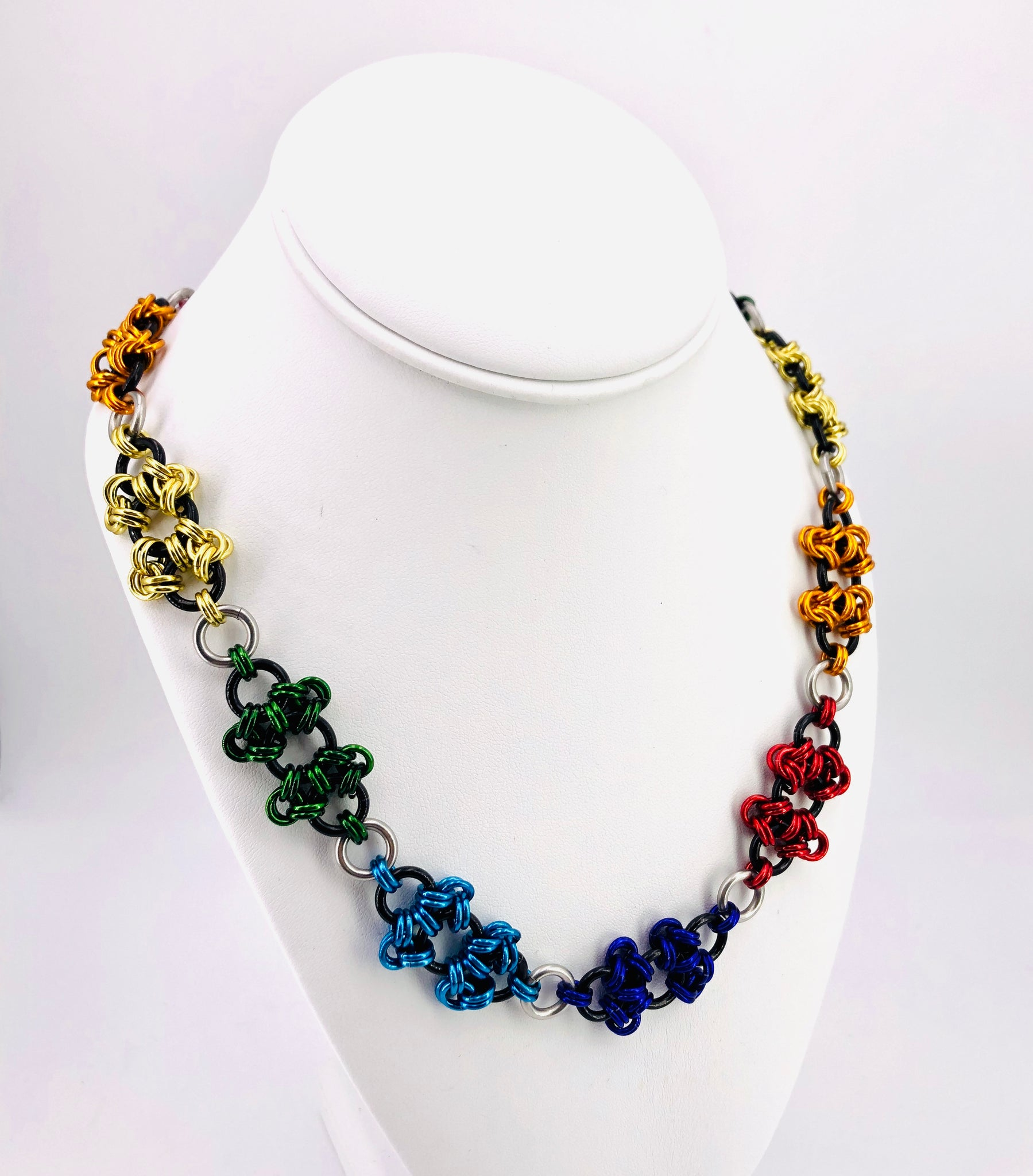 Rainbow Pride Chainmaille Necklace
