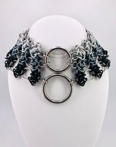 Grey Ombre Chainmaille Statement Collar Necklace
