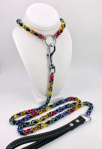 Rainbow Chainmaille Collar and Leash Set