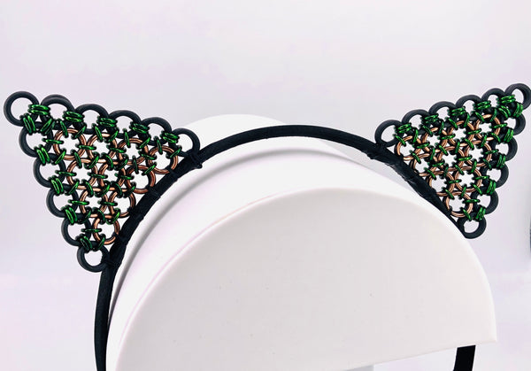 Green and Black Chainmaille Kitty Ears