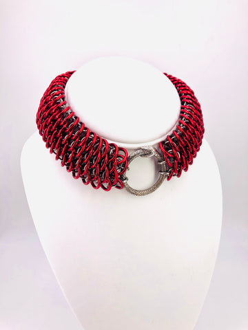 Red Dragonscale Statement Collar with Ouroboros Ring