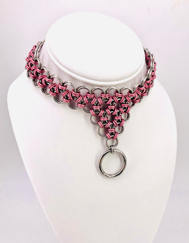 Pink and Steel Center Drop Chainmaille Collar