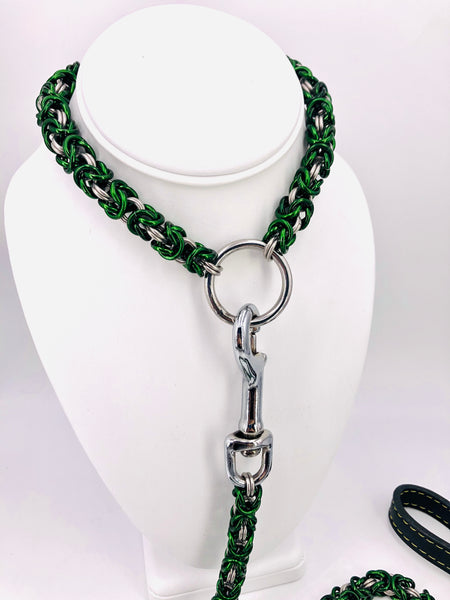 Green and Stainless Steel Collar and Leash Set