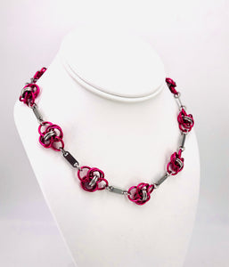 Hot Pink and Stainless Steel Linked Necklace