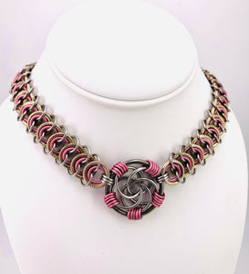 Pink, Gold, and Stainless Steel Collar with Center Pendant