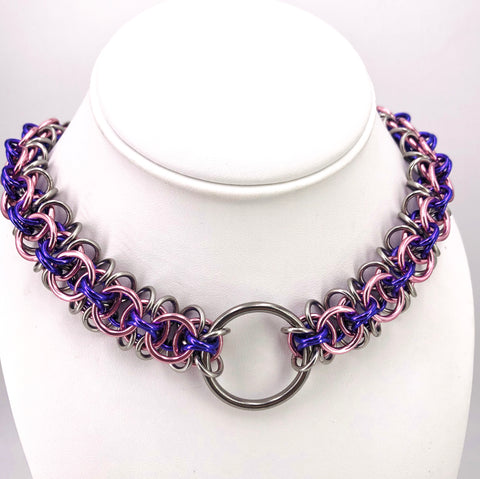 Pink, Purple, and Steel Chainmaille Collar