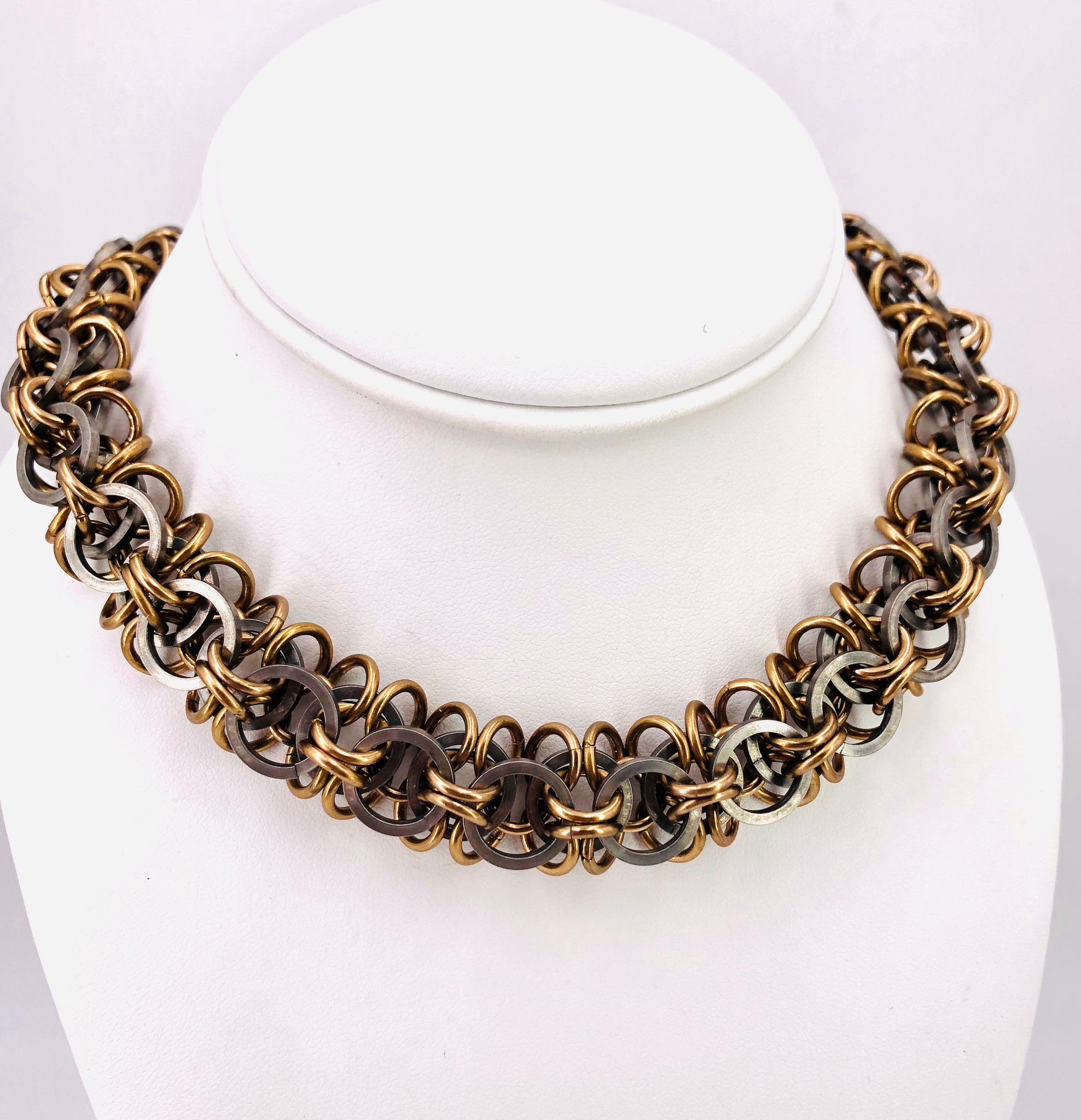 Heavy Bronze and Steel Chainmaille Collar Necklace