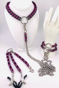 Pink, Black, and Stainless Steel Chainmaille BDSM Set (collar, cuffs, nipple clamps)