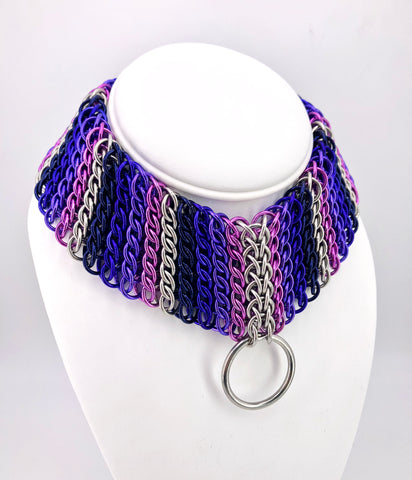 Shades of Purple Chainmaille Statement BDSM Collar Necklace