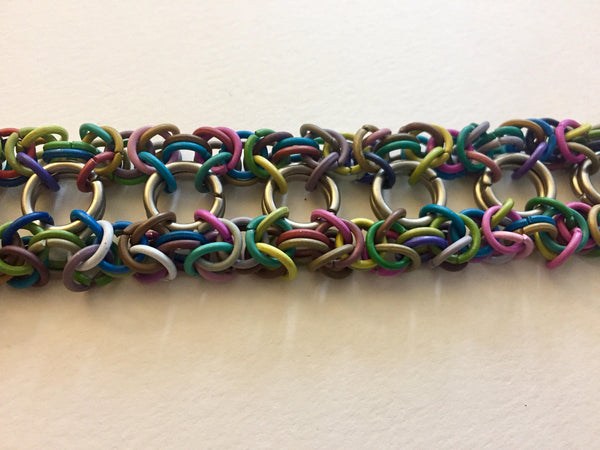 Rainbow Iron Chainmaille Bracelet