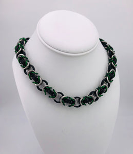 Green, Black, and Silver Chainmaille Necklace Collar (day collar, BDSM submissive)