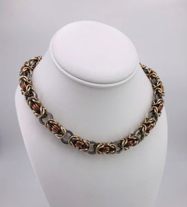 Gold, Bronze, and Steel Chainmaille Necklace Collar (day collar, BDSM submissive)
