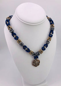 Blue, Grey, Champaign and Stainless Steel Chainmaille Necklace Collar with Celtic Pendant (BDSM submissive)