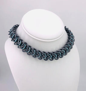 Grey, Light Blue and Stainless Steel Elfweave BDSM Collar (submissive, day collar)